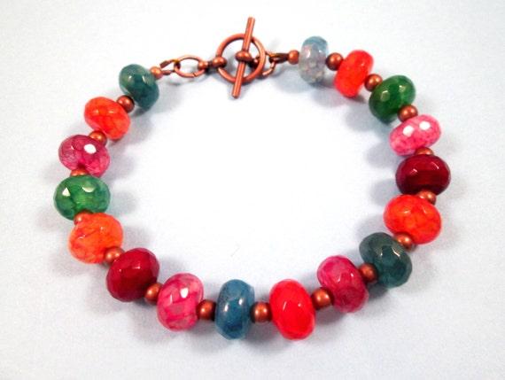 Gemstone Bracelet, Jewel Tone Crackle Quartz Bracelet, Colorful and Copper Beaded Bracelet, FREE Shipping U.S.