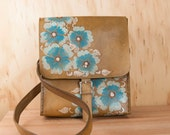 Leather Messenger Bag and Backpack - Convertable Mini Backpack - Belle Pattern with wild roses in turquoise and antique brown