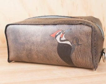 Dopp Bag - Handmade leather Toiletry Kit in the Woodpecker Pattern - Red and Antique Black