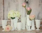 Vintage Milk glass,  set of 9 milk glass vase and planter collection, white vase wedding decor, hobnail milk glass, white glass