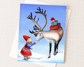 Scandinavian Christmas Card - Holiday Card - Little Dutch Girl & Reindeer - Nordic Scandivavian Design - Blank Inside