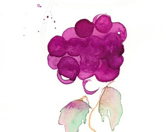 """Watercolor art print of grapes in wine glass shape: """"Glass of Vine"""""""