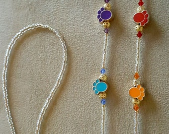 Paws Paws and more Paws Dog and Cat Lover Eyeglass Chain Holder