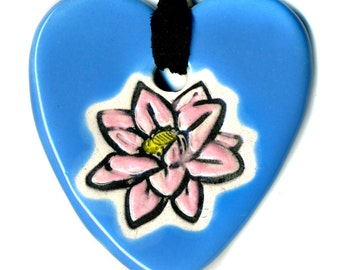 Lotus Flower Heart Ceramic Necklace in Bright Blue