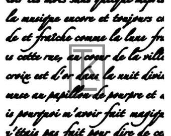 French Handwriting Silk Screen
