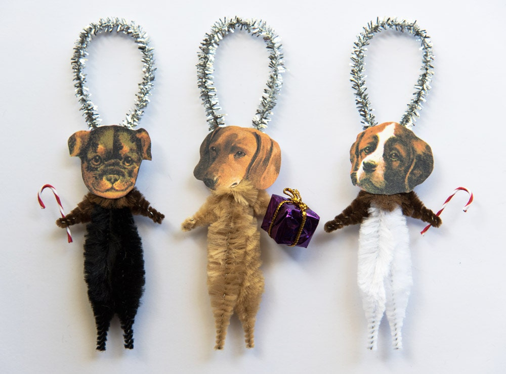 Christmas Dogs Chenille Ornaments Dog Christmas Ornaments