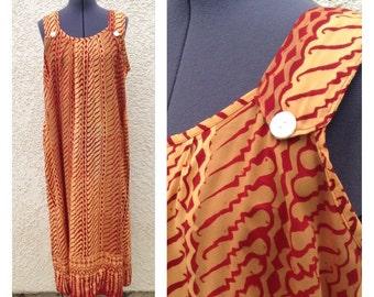 Vintage 80s batik maxi shift dress ~ bohemian ~ tribal ~ hippie