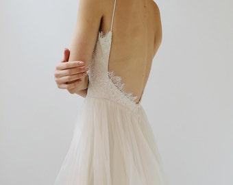 Sample Sale - blush Lace and silk Wedding Dress