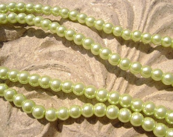 Pearlescent Glass Pearl Pearls Beads Light Green Lime 4mm Round LARGE 30mm Strand