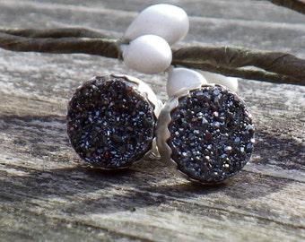 Black Druzy Earrings ... black druzy studs sterling silver post earrings gemstone studs gemstone earrings