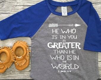 Boys Unisex Scripture Baseball T Shirt modern graphic trendy tee 3/4 sleeve christian Bible Verse