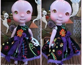 Day of the Dead Dress for Circus Kane Cerise Tiny BJDs by Tickled Pink by Julie