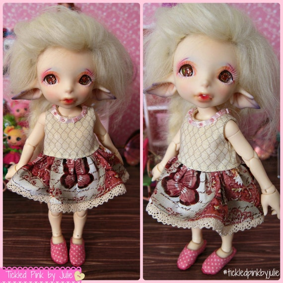 RealFee Tiny BJD Butterfly Dress by Tickled Pink by Julie