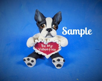 Black and White Boston Terrier Valentines sculpture OOAK handsculpted by Sallys Bits of Clay