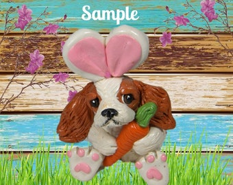 Blenheim Cavalier King Charles Spaniel Easter Bunny dog with Carrot OOAK Clay art sculpture by Sally's Bits of Clay