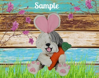 Old English Sheepdog Easter Bunny dog with Carrot OOAK Polymer Clay art sculpture by Sallys Bits of Clay