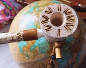 Leather & Wood Peace Pipe Tobacco Pipe Smoking Pipe Woodburned Pipe Unique Sculptural Art Pipe Upcycled Gift Native American Inspired Pipe