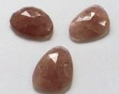 Gemstone Cabochons Strawberry Quartz Free Form Faceted Parcel FOUR CABS
