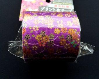 Japanese Fabric Tape - Origami Tape - Origami Crane Tape -  Purple Tape - Japanese Tape - Cherry Blossom Tape - Sakura Tape