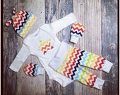 Newborn rainbow Baby Coming Home outfit set knit beanie shirt pants scratch mittens chevron pregnancy after loss