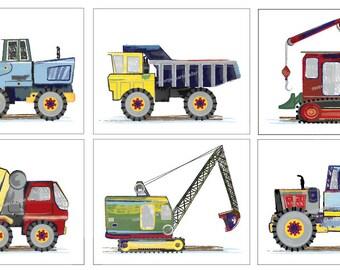 Construction Art, Boys Construction Trucks, Art Prints For Kids Construction Busy Builder Bedding, Room Decor