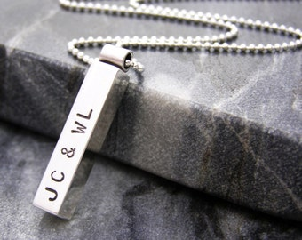 Personalised Mens Silver Necklace | Silver Pendant | Contemporary Pendant | Gift for Him