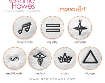 Symbol Design Stamp, Music Note, Equality, Crown, Flourish, Triangle, Medical, or Compass, your choice.