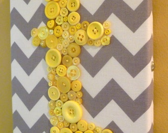 Nursery Wall Art, Yellow Button Letter, Baby Girl or Baby Boy Personalized Gift, Nursery Decor, Button Art, Ready-to-Frame or Wall Canvas