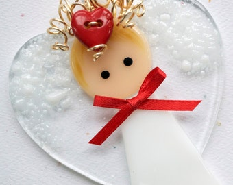 003 - Valentine Angel, Fused Glass Angel, Glass Angel, Angel Ornament, Fused Glass, Handmade, CGGE, TT, Circle Clickers