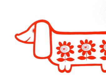 Sausage dog silk screen print retro signed Jane Foster