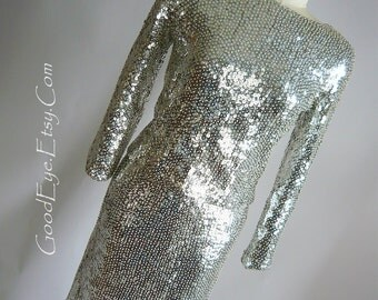 Vintage  LIQUID SILVER Sequin Beaded Dress Maxi Skirt Sweater VALENTINA size 4 6 8  small 1960s Evening 2pc Hong Kong