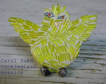 Mosaic beaded yellow chick with stink eye