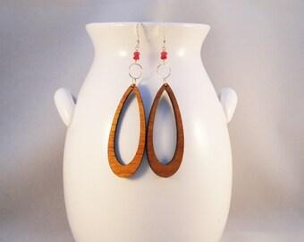 Gypsy Long Drop - Unique Koa Wood Earrings