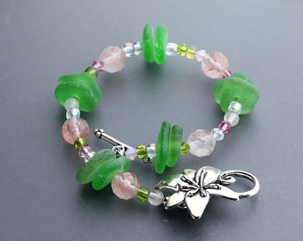 Spring Pastel Sea glass jewelry - Sea glass bracelet - gift for her - crystals and tourmaline - Beach glass bracelet - 7.5""