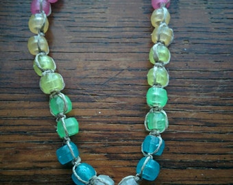 Rainbow Glow-in-the-Dark Beaded Necklace on Natural Hemp