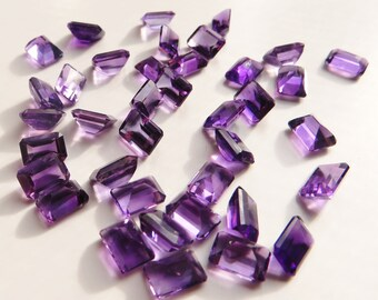 Amethyst - Princess-Cut LOT, 35.70 cts - 38 pieces - 5x7 (A115)
