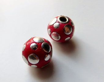 13mm Round Red Polka Dot Beads, Lightweight Beads - Matching Pair