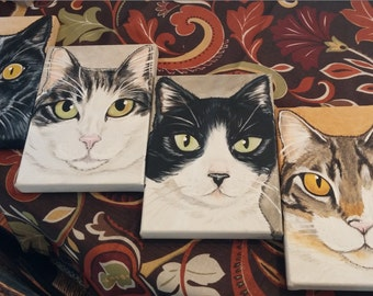 Four Custom Pet Portrait Paintings 5x7, made to Order