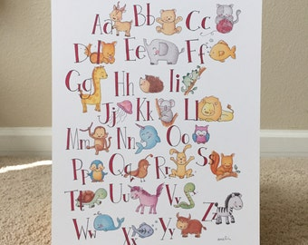 Illustrated Watercolor Animal ABC Print