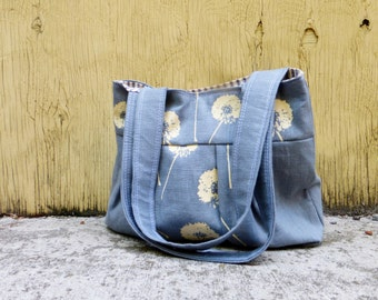 Grey Dandelion Shoulder Bag - Linen - 3 pockets - Key Fob