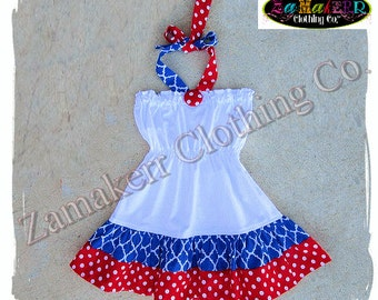 2T 24 month 3T ONLY Clearance Boutique Clothing Girl Summer Halter Dress Fourth 4th of July Red White Blue Birthday Size 24 month 2 2T 3 3T
