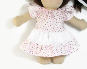 Pink and white ruffled doll dress for your 10 to 12 inch Waldorf doll, pink and white tiered doll dress and optional bloomers