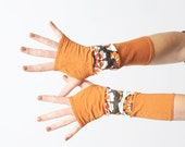 Orange jersey armwarmers, long fingerless gloves, white and orange patchwork armwarmers, stretchy fingerless gloves
