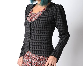 Grey jersey jacket, Fitted jersey jacket in purplish-grey & black houndstooth, long sleeves,  UK 14 or your size