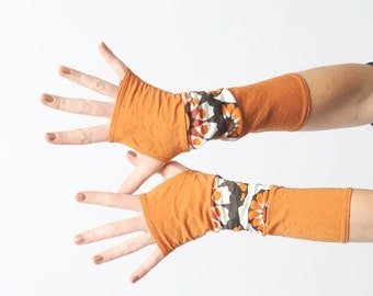 SALE Orange jersey armwarmers, long fingerless gloves, white and orange patchwork armwarmers, stretchy fingerless gloves