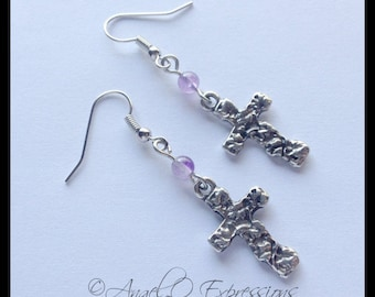 Spiritual Connection Cross Charm Earrings with Amethyst
