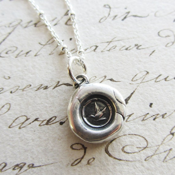 Messenger Dove Tiny Wax Seal Necklace - Friendship Necklace - Dove Necklace - Good Tidings - V1223