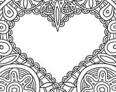 "VALENTINE CARD Coloring Page (Printable 8.5 x 11"" PDF)"