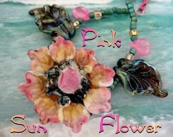 Pink Sun Flower Lampwork Art Glass Bead Necklace HelensHarvest