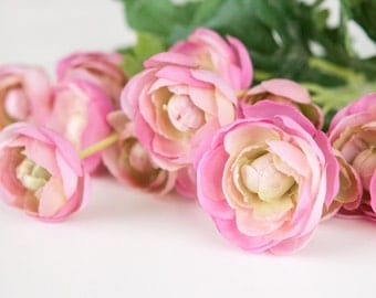 15 Small Mini Pink Ranunculus - silk flowers, artificial flowers,  - ITEM 0208